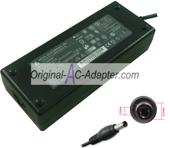 Delta 19V 6.3A 120W 5.5mm x 2.5mm Power AC Adapter