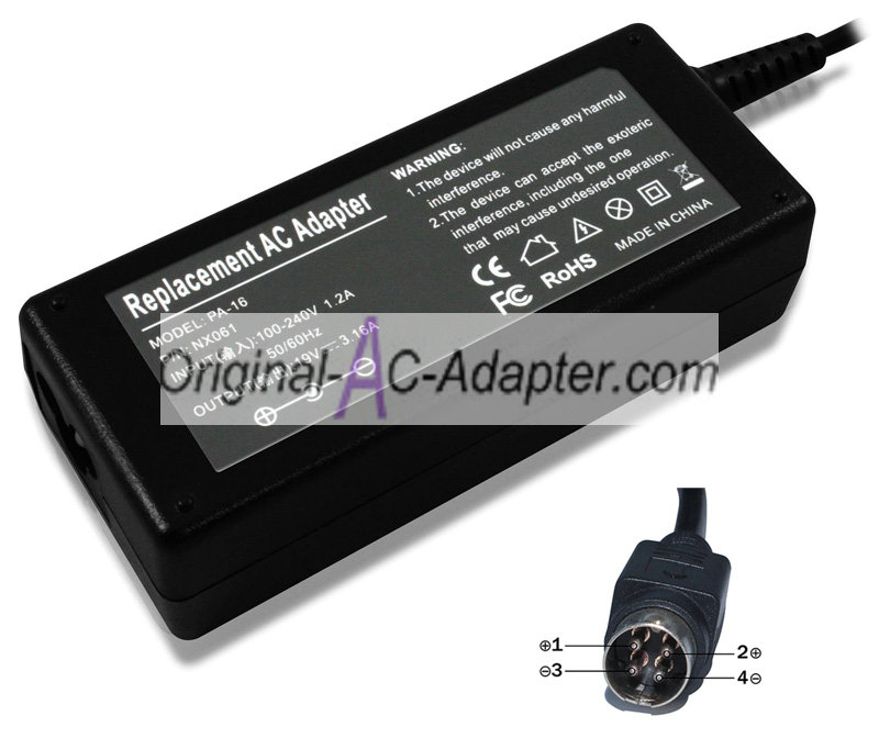 Delta 19V 3.15A 4 Pin with round head Power AC Adapter