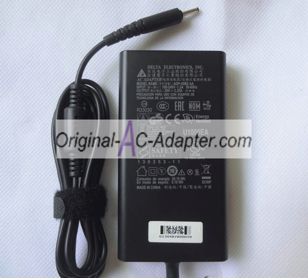 Delta 20V 2.25A 3.0mm x 1.1mm Power AC Adapter