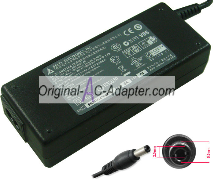 Delta 19V 3.95A 5.5mm x 2.5mm Power AC Adapter