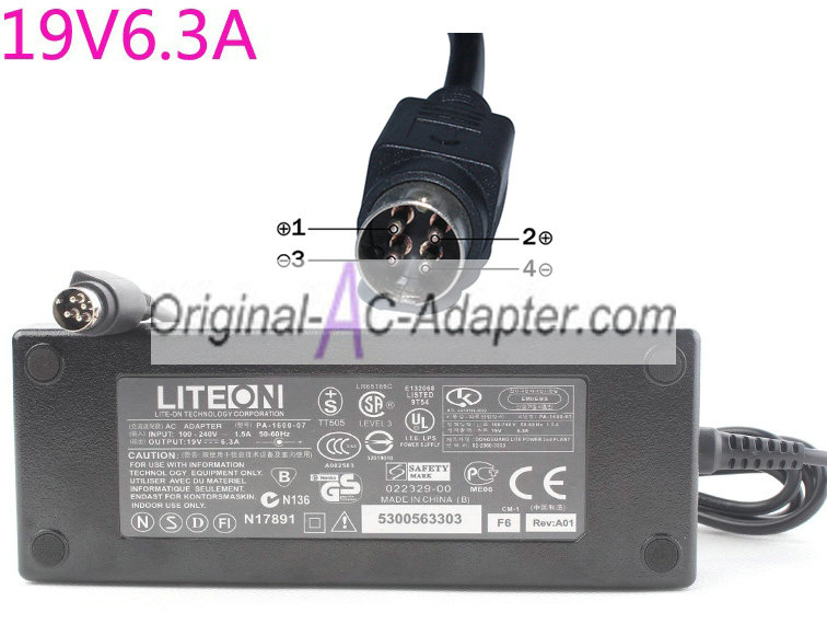 LITEON 19V 6.3A 120W 4 pin with round head Power AC Adapter