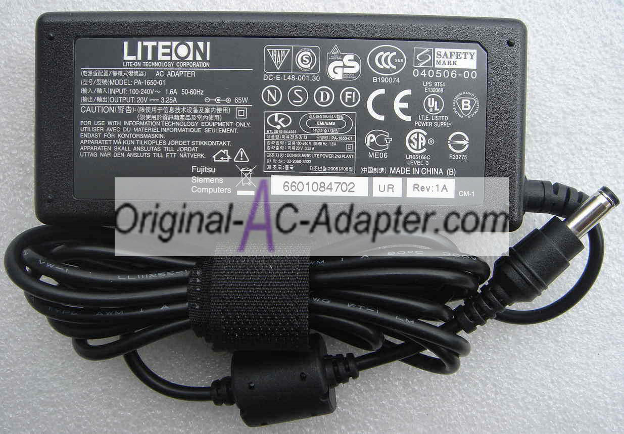 LITEON 20V 2.5A 50W 5.5mm x 2.5mm Power AC Adapter
