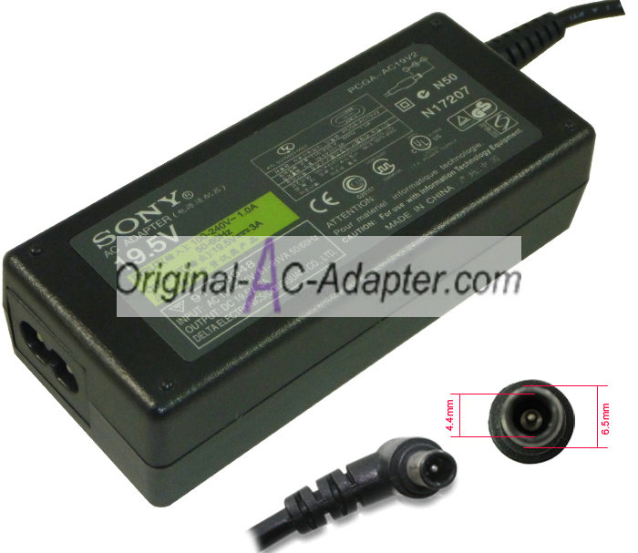 Sony PCGA-ACX1 19.5V 3A Power AC Adapter - Click Image to Close